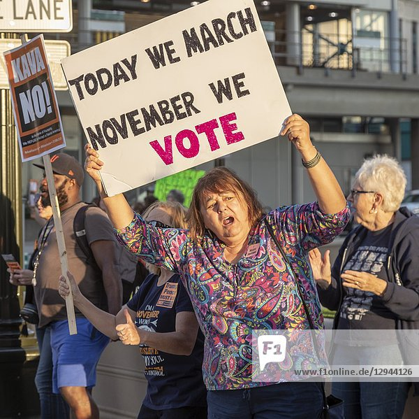 Detroit  Michigan USA - 3 October 2018 - People gathered at the McNamara Federal Building to oppose the confirmation of Brett Kavanaugh to the Supreme Court. The rally was organized by MoveOn. org.