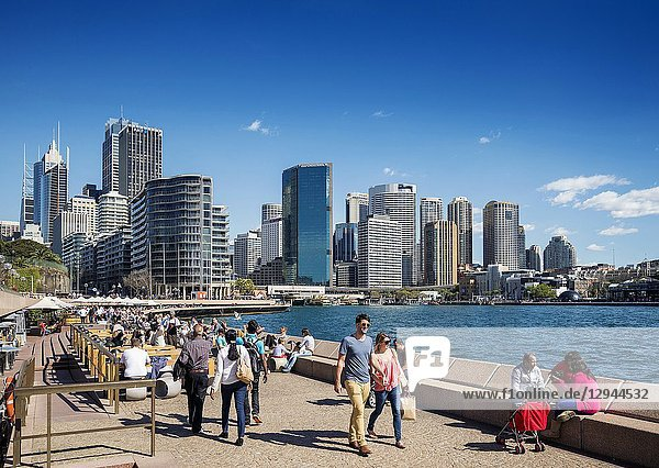 Central sydney CBD area skyline and circular quay in australia from waterside promenade.