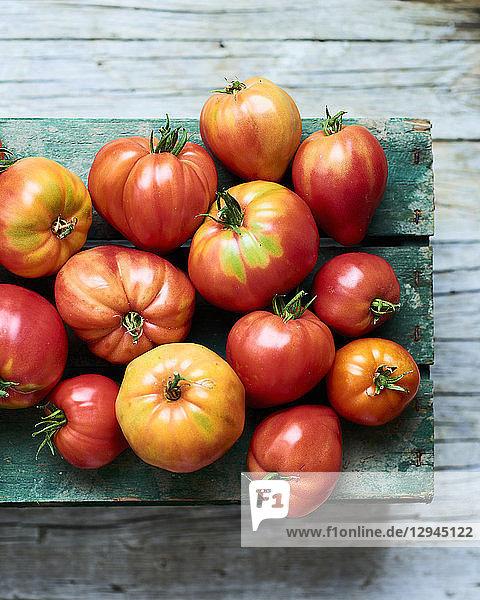 Verschiedene Tomaten auf Holzkiste