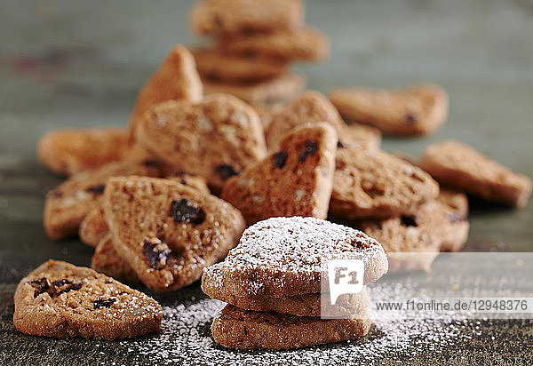 Pekannuss-Kekse mit Nussnougat  Rohrzucker  Korinthen und Orangensaft