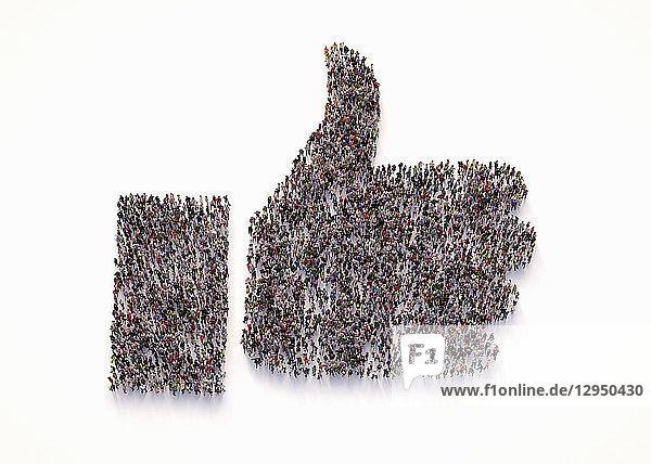 Draufsicht einer Menschenmenge  die einen Daumen nach oben als like-Symbol bildet