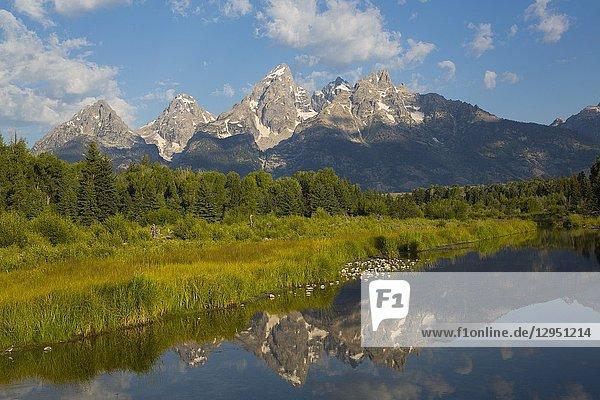Teton Range from Schwabache Landing  Grand Teton National Park  Wyoming  USA.