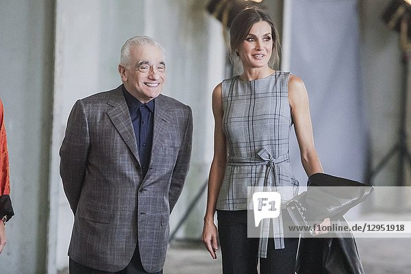 Queen Letitia attends a meeting of Martin Scorsese with young directors at La Antigua Fabrica de Armas in Oviedo  Spain