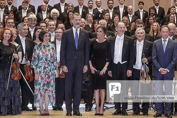 King Felipe VI of Spain  Queen Letizia of Spain attended '27th Musical Week' closing concert at the Principe Felipe Auditorium during the 'Princess of Asturias Awards 2018' on October 18  2018 in Oviedo  Asturias  Spain