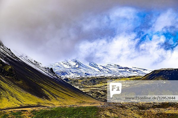 Snæfellsjökull glacier in the nature of Snaefellsnes peninsula  Iceland.