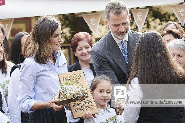 Queen Letizia of Spain  King Felipe VI of Spain visit 2018 Exemplary Region of Moal (Cangas de Narcea) on October 20  2018 in Oviedo  Spain. The Region of Moal was honoured as the 2018 Best Asturian Village.