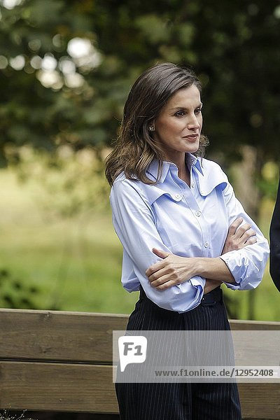 Queen Letizia and King Felipe visit Moal winner of the exemplary village award 2018 during the Princess of Asturias awards on the 20 of October of 2018 in Moal  Spain.