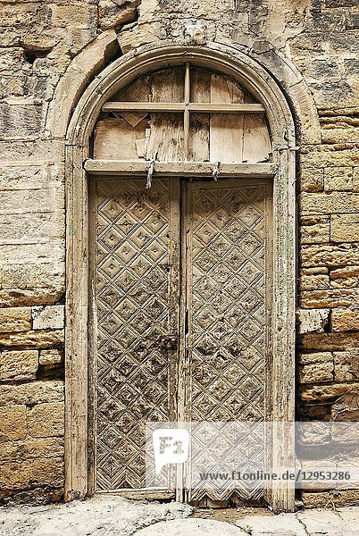 Baku city old town street view in azerbaijan with traditional architecture door detail.