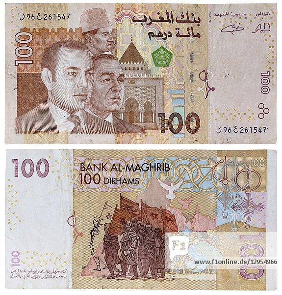 100 dirhams banknote  Kings Hassan II  Mohammed VI  Morocco  2002.