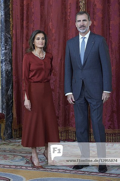 King Felipe VI of Spain  Queen Letizia of Spain attend an official lunch at Palacio Real on October 24  2018 in Madrid  Spain