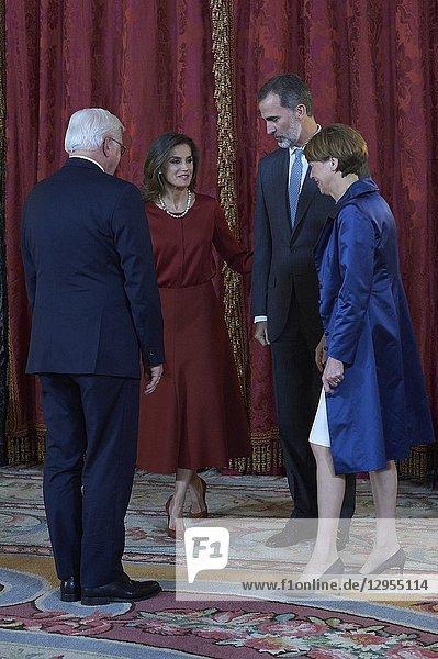 King Felipe VI of Spain  Queen Letizia of Spain  Frank-Walter Steinmeier  Elke Buedenbender attend an official lunch at Palacio Real on October 24  2018 in Madrid  Spain
