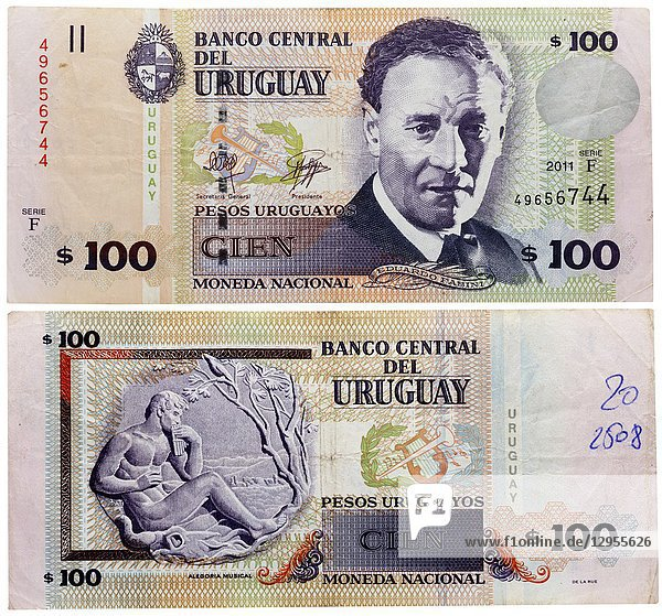100 pesos banknote  Eduardo Fabini  Uruguay  2011.