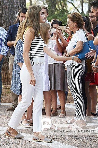 King Felipe VI of Spain  Queen Letizia of Spain  Crown Princess Leonor  Princess Sofia pose for the photographers at the Marivent Palace on July 31  2017 in Palma de Mallorca  Spain.