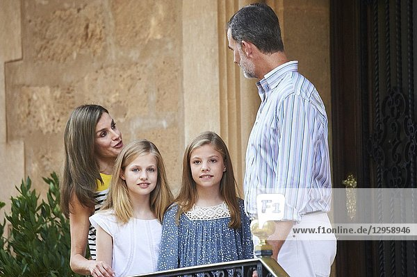 King Felipe VI of Spain  Queen Letizia of Spain  Crown Princess Leonor  Princess Sofia pose for the photographers at the Marivent Palace on July 31  2017 in Palma de Mallorca  Spain.
