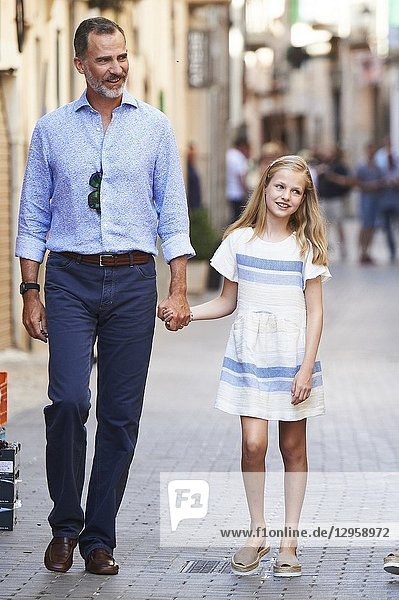 King Felipe VI of Spain  Crown Princess Leonor visit the Miro exhibition at Can Prunera museum in Soller on August 6  2017 in Balearic Island  Spain