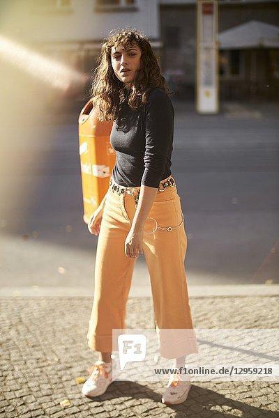 Woman in city  Berlin  Germany.