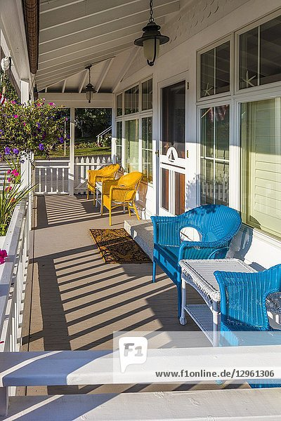 Pretty house porch in Boothbay Harbor Maine in the United States.