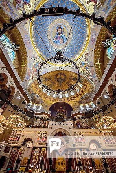 Interior of the Naval cathedral of Saint Nicholas in Kronstadt  Saint Petersburg  Russia.