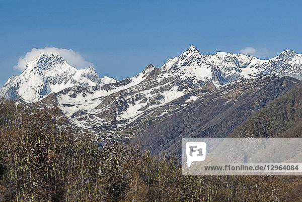 France  Pyrenees Ariegeoises Regional nature Park  snowy Mont Valier (2 838 meters)