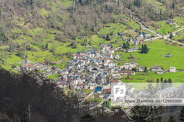 France  Pyrenees Ariegeoises Regional nature Park  Garbet Valley  Oust village