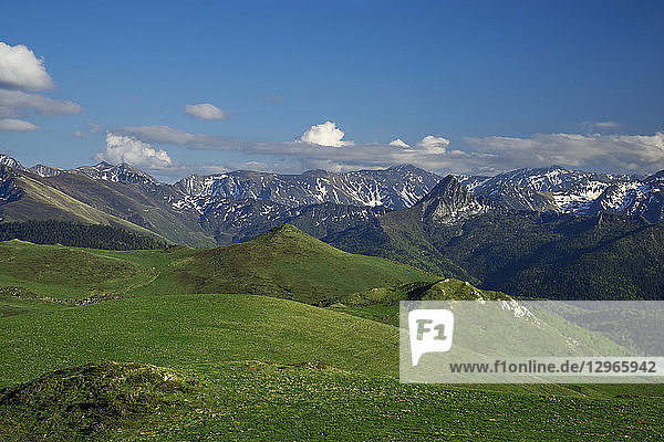 France  Aude  view over Pyrenees Mountains and Dent d'Orlu from Chioula Plateau  Nordic ski area of Chioula