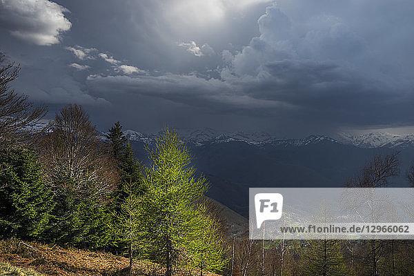 France  Ariege  view over Pyrenees Mountains from Col de la Crouzette  thunderstorm
