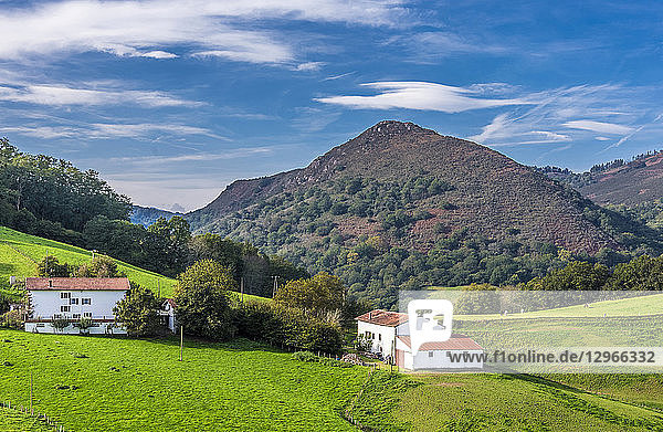 Spain  Basque Country  Navarre  farmhouses in the pastures of Urdax (Way of Saint James  way of Baztan)
