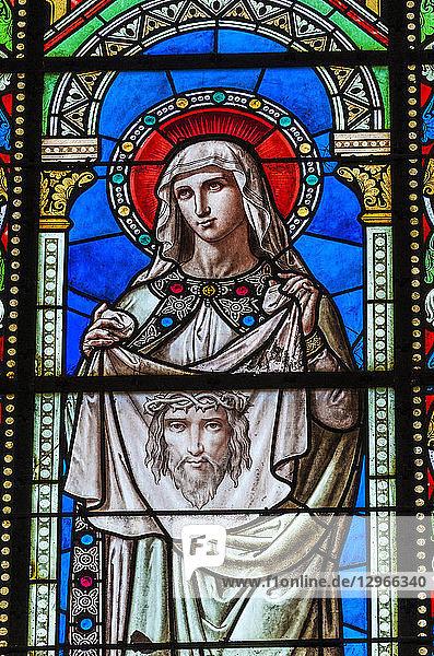 France,  Gironde,  Bordeaux,  Bastide neighborhood,  stained glass window of Saint Mary church (19th century),  Saint Veronica