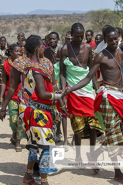 Samburu tribes people performing a dance at a Samburu village near Samburu National Reserve in Kenya.