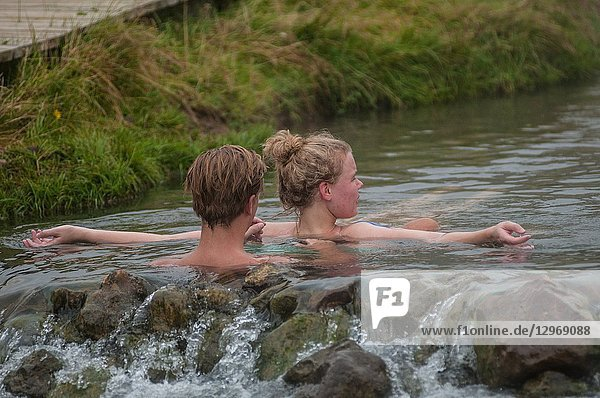 Thermal waters in Iceland. The 'hot river'  in the mountains behind Hveragerdi. South Iceland.
