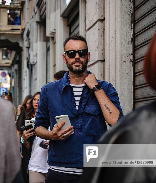 MILAN  Italy- September 19 2018: Federico Rocca on the street during the Milan Fashion Week.
