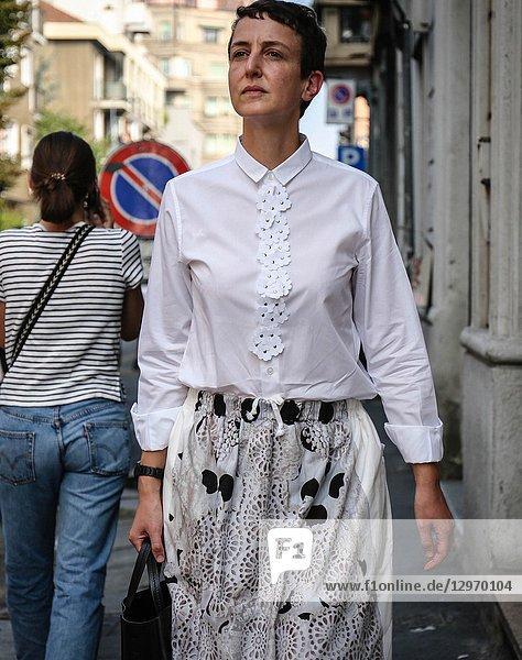 MILAN  Italy- September 19 2018: Women on the street during the Milan Fashion Week.