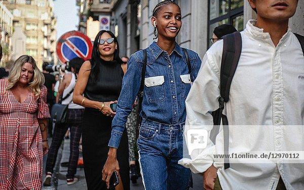 MILAN  Italy- September 19 2018: Blesnya Minher on the street during the Milan Fashion Week.