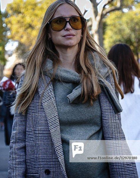 PARIS  France- September 26 2018: Pernille Teisbaek on the street during the Paris Fashion Week.