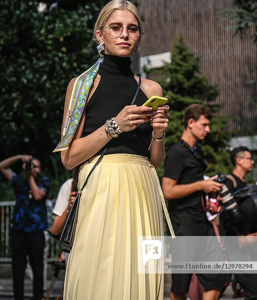 MILAN  Italy- September 19 2018: Caroline Daur on the street during the Milan Fashion Week.