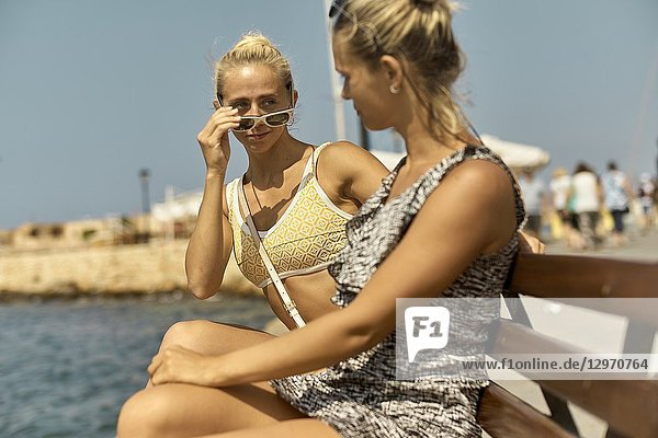 Two women in Chania  Crete  Greece