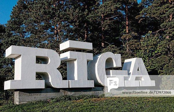 Big sign entering Riga Latvia capital city