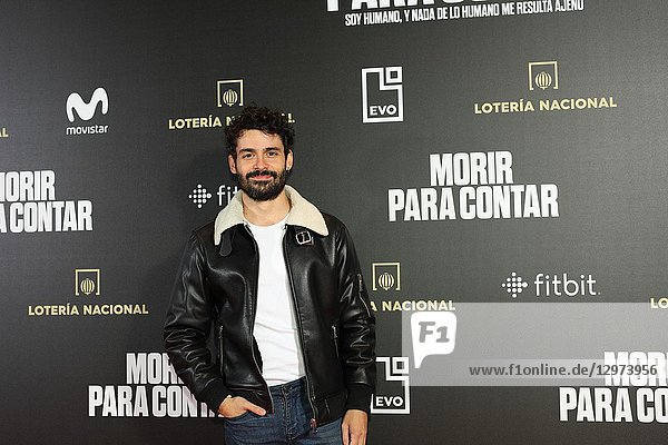 NICO ROMERO,  Spanish actor. The premiere of the Official Section of the documentary MORIR PARA CONTAR at the Madrid Premiere Week. Hernán Zin,  the director,  interviews other journalists and asks them about their traumas,  their losses,  their fears and their families on Nov 13,  2018 in Madrid,  Spain