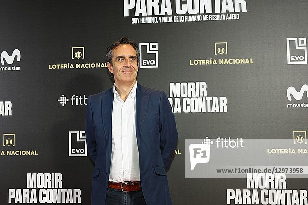 JUAN PEDRO VALENTIN,  Spanish journalist. The premiere of the Official Section of the documentary MORIR PARA CONTAR at the Madrid Premiere Week. Hernán Zin,  the director,  interviews other journalists and asks them about their traumas,  their losses,  their fears and their families on Nov 13,  2018 in Madrid,  Spain