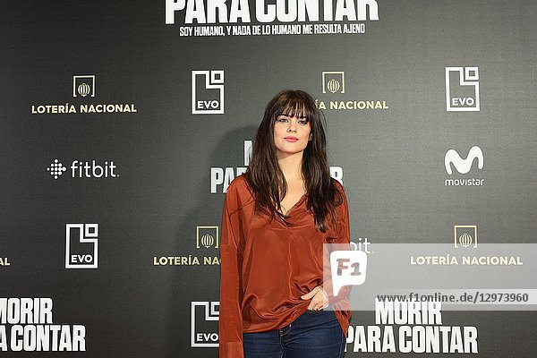 CRISTINA ABAD  Spanish actress. The premiere of the Official Section of the documentary MORIR PARA CONTAR at the Madrid Premiere Week. Hernán Zin  the director  interviews other journalists and asks them about their traumas  their losses  their fears and their families on Nov 13  2018 in Madrid  Spain