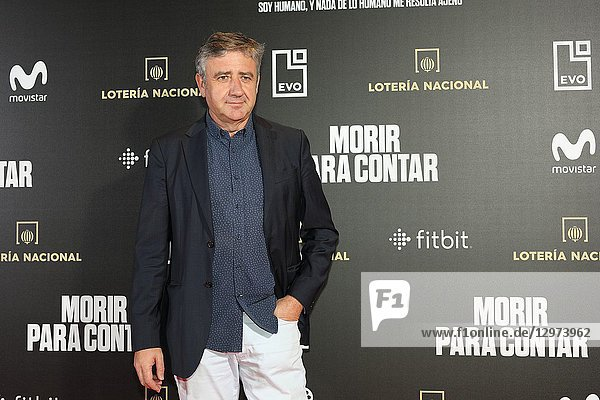 RAMON ARANGUENA  Spanish journalist and humorist. The premiere of the Official Section of the documentary MORIR PARA CONTAR at the Madrid Premiere Week. Hernán Zin  the director  interviews other journalists and asks them about their traumas  their losses  their fears and their families on Nov 13  2018 in Madrid  Spain