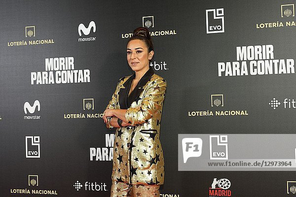 GALA EVORA,  flamenco singer and Spanish actress. The premiere of the Official Section of the documentary MORIR PARA CONTAR at the Madrid Premiere Week. Hernán Zin,  the director,  interviews other journalists and asks them about their traumas,  their losses,  their fears and their families on Nov 13,  2018 in Madrid,  Spain