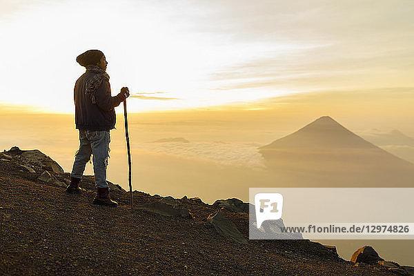 Man hiking mountain in Guatemala