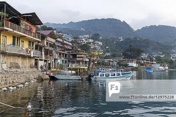 Fishing boats in the San Pedro harbor in Guatemala
