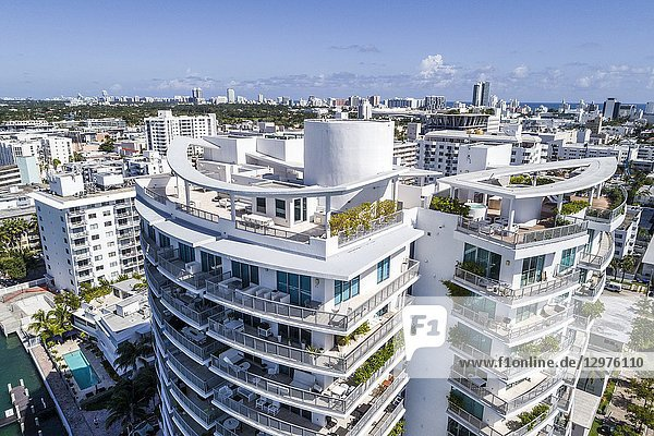 Florida  Miami Beach  Capri South Beach  rooftop terrace  balconies  aerial overhead bird's eye view above