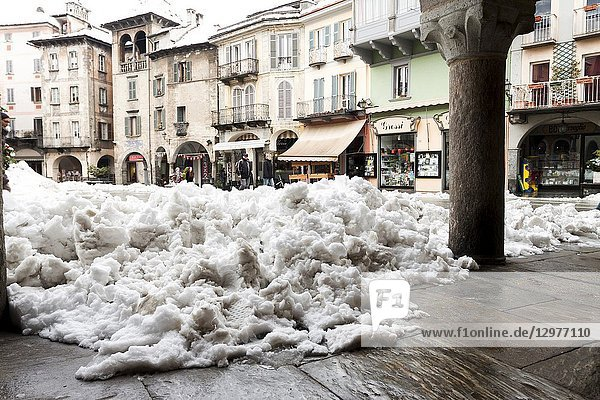Market square under a blanket of snow. Domodossola  Piedmont. Italy.