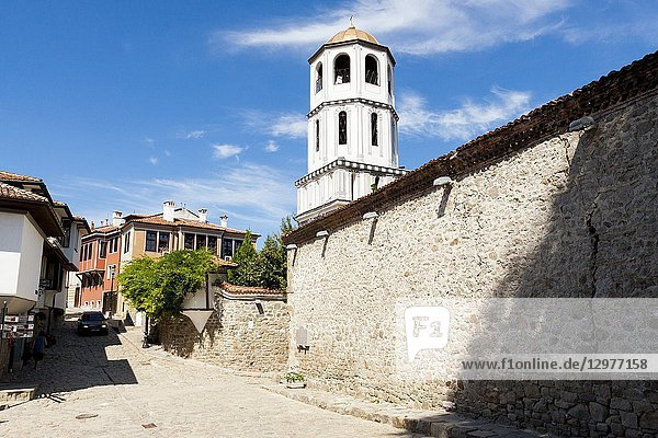 View of the bell tower of the church of St. Konstantin and Elena Church. Plovdiv  Bulgaria.