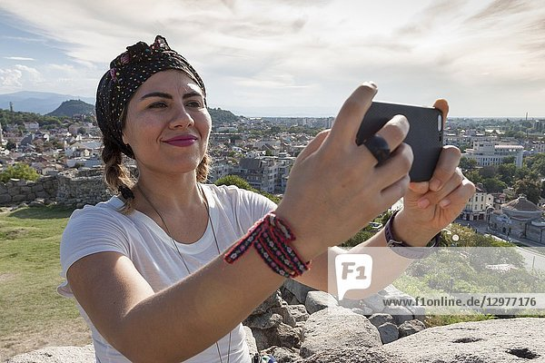 Young woman taking a selfie. Plovdiv  Bulgaria.