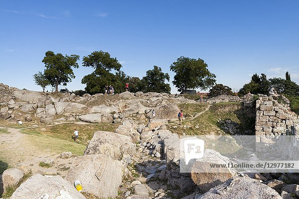 Tourists visit the old ruins of the city. Plovdiv  Bulgaria.