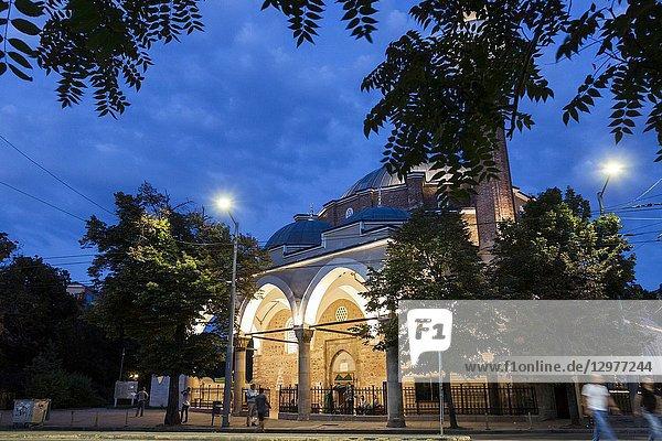 Banya Bashi Mosque in a suggestive summer sunset. Sofia  Bulgaria.